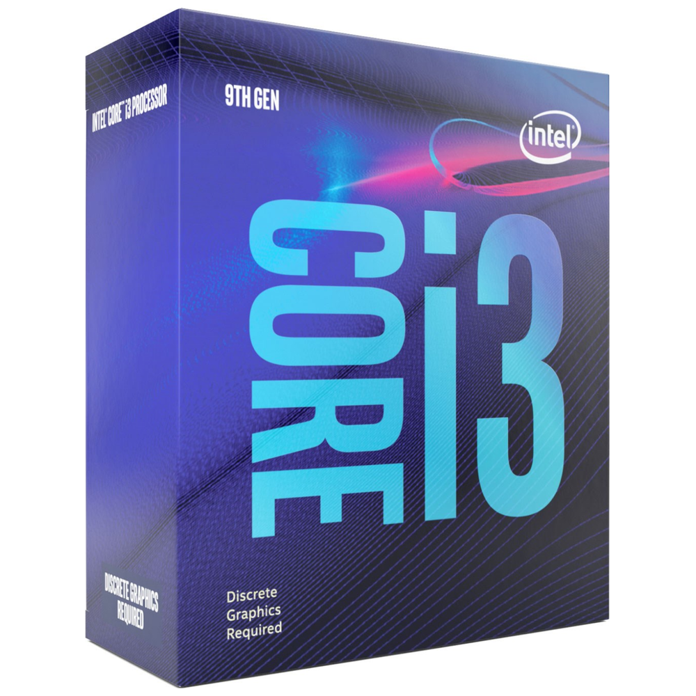 A large main feature product image of Intel Core i3 9100F 3.6GHz Coffee Lake R 4 Core 4 Thread LGA1151-CL - No iGPU Retail Box