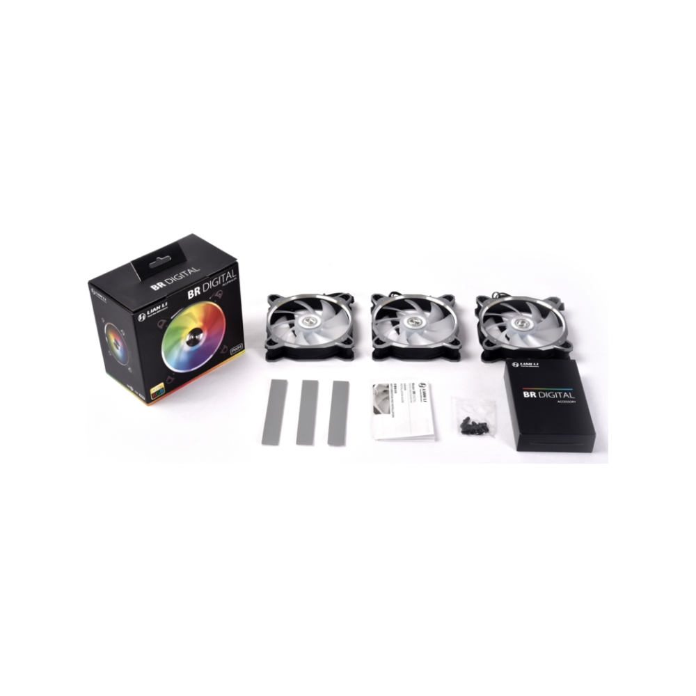 A large main feature product image of Lian-Li Bora Digital RGB 120mm PWM Fans - 3 Pack Black with remote control