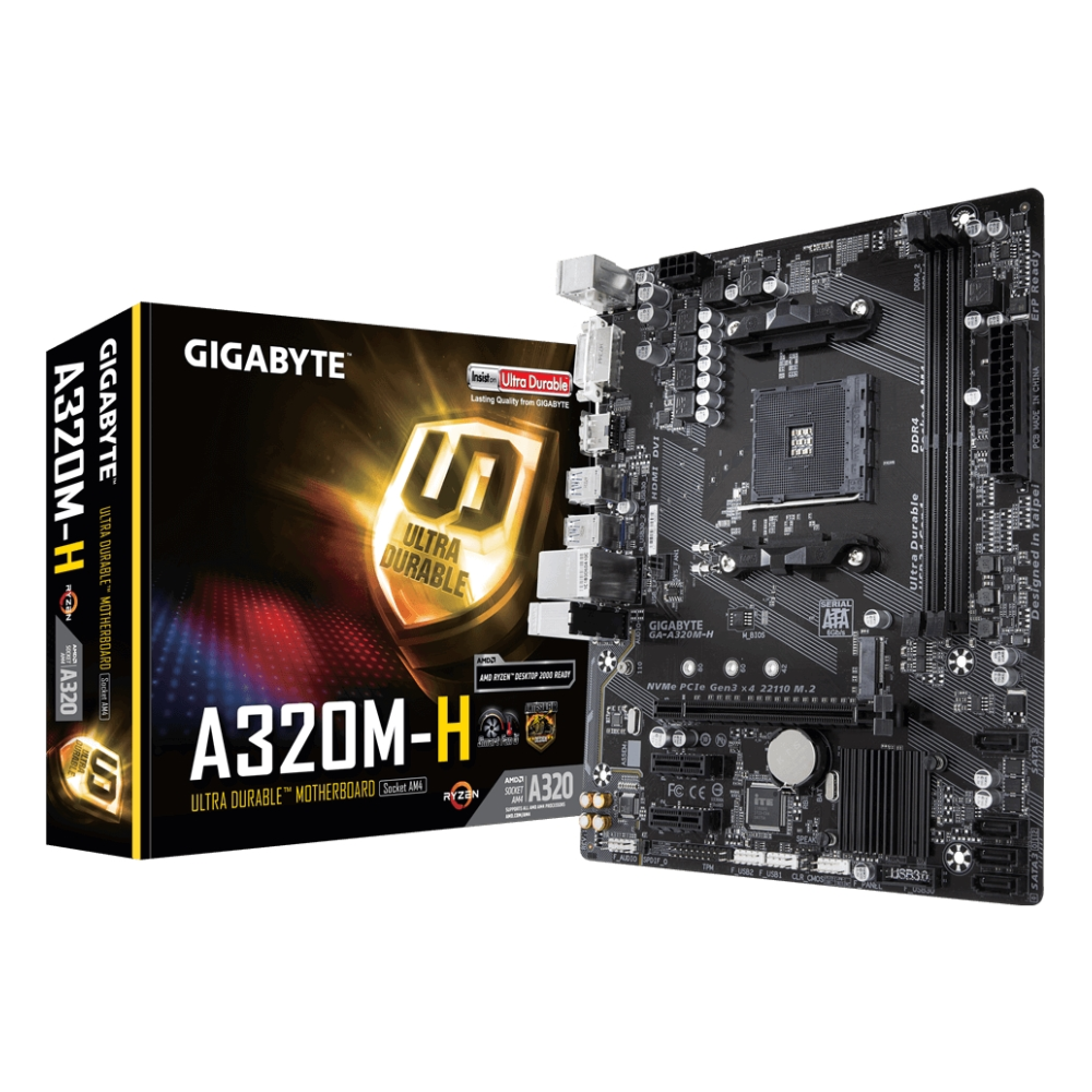 A large main feature product image of Gigabyte A320M-H mATX AM4 Desktop Motheboard