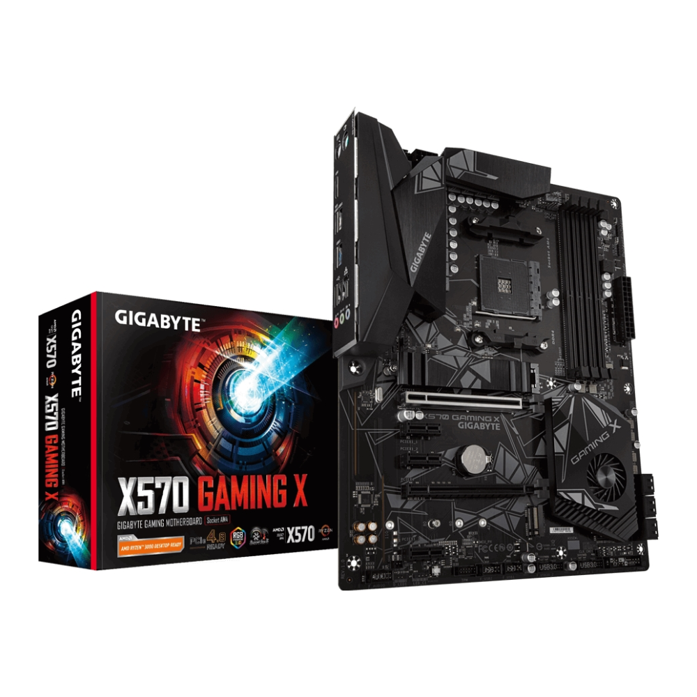 A large main feature product image of Gigabyte X570 Gaming X AM4 ATX Desktop Motherboard