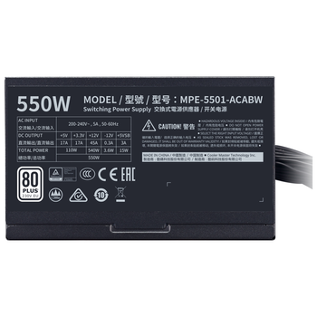 Product image of Cooler Master MWE 550W 80PLUS White Power Supply - Click for product page of Cooler Master MWE 550W 80PLUS White Power Supply