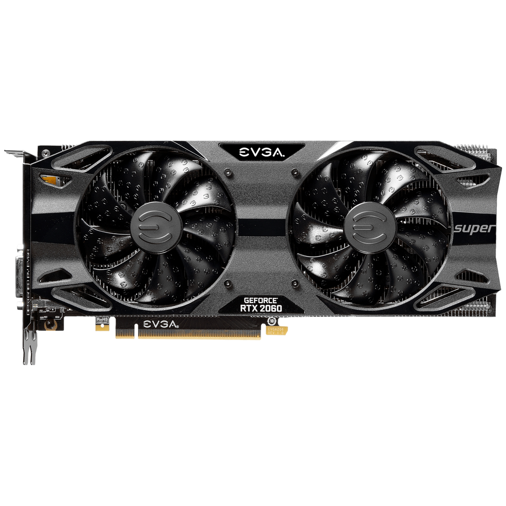 A large main feature product image of eVGA GeForce RTX2060 Super SC Ultra 8GB GDDR6