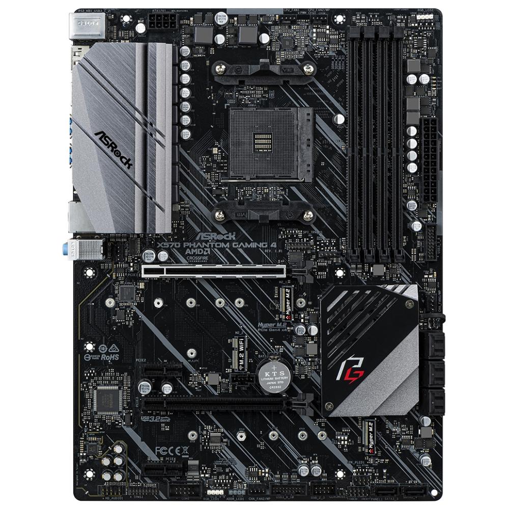 A large main feature product image of ASRock X570 Phantom Gaming 4 ATX AM4 Desktop Motherboard