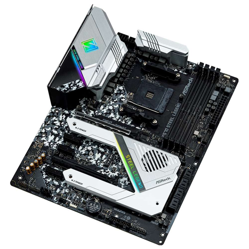 A large main feature product image of ASRock X570 Steel Legend AM4 ATX Desktop Motherboard