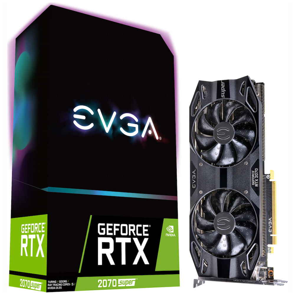 A large main feature product image of eVGA GeForce RTX2070 Super Black 8GB GDDR6