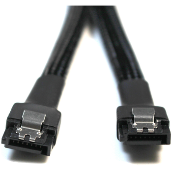 Product image of GamerChief SATA 45cm Sleeved Cable Latched (Black) - Click for product page of GamerChief SATA 45cm Sleeved Cable Latched (Black)