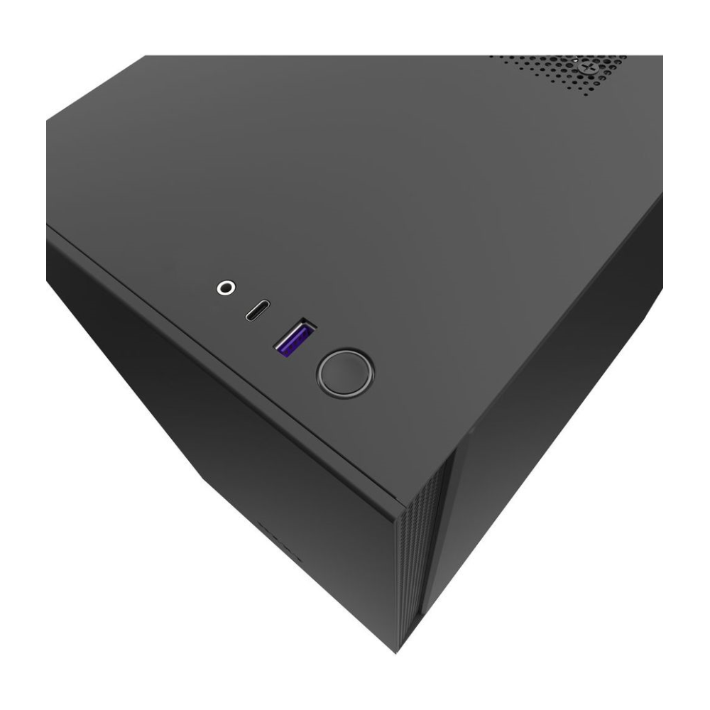 A large main feature product image of NZXT H210 Matte Black mITX Case w/ Side Panel Window