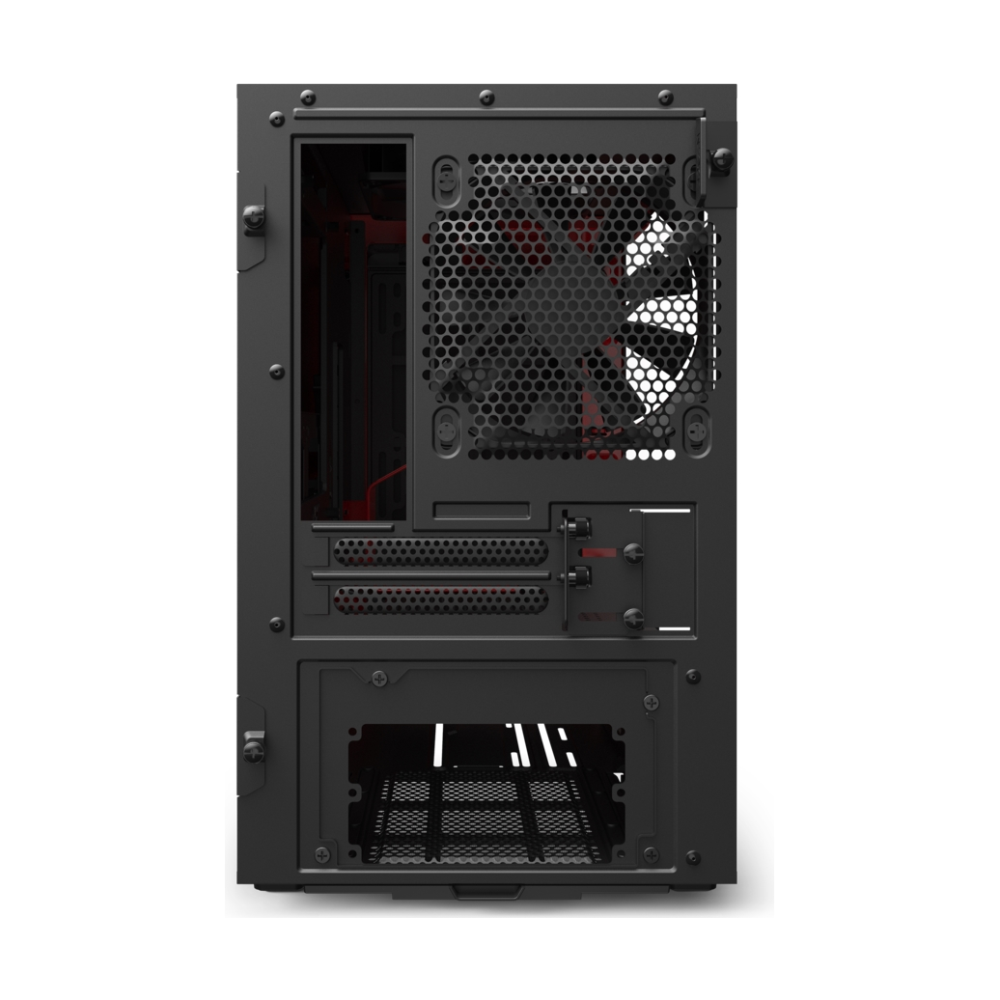 A large main feature product image of NZXT H210 Matte Black/Red mITX Case w/ Side Panel Window