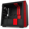 A product image of NZXT H210 Matte Black/Red mITX Case w/ Side Panel Window