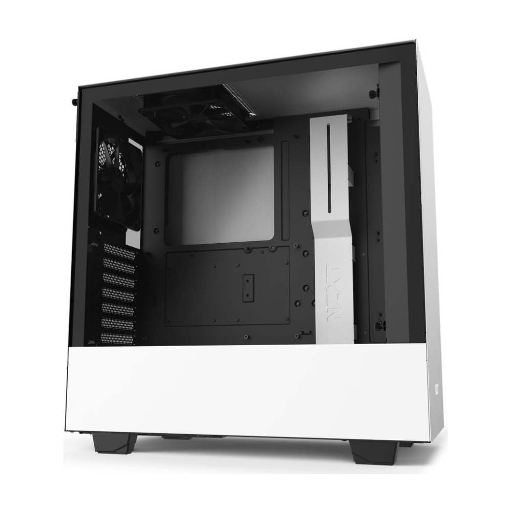 A large main feature product image of NZXT H510 Matte White Mid Tower Case w/Tempered Glass Side Panel