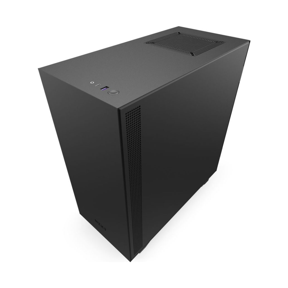 A large main feature product image of NZXT H510i Matte Black Smart Mid Tower Case w/ Side Panel Window