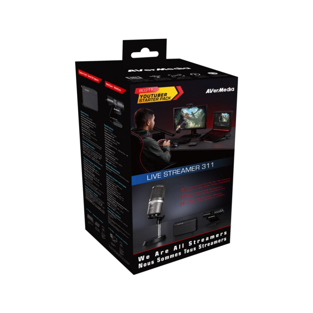 A large main feature product image of AVerMedia Live Streamer BO311 Streaming Kit