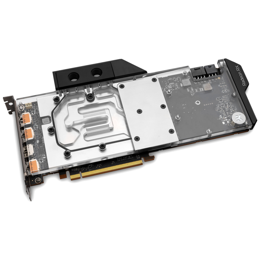 A large main feature product image of EK Vector Radeon RX 5700/XT RGB Nickel/Plexi GPU Waterblock