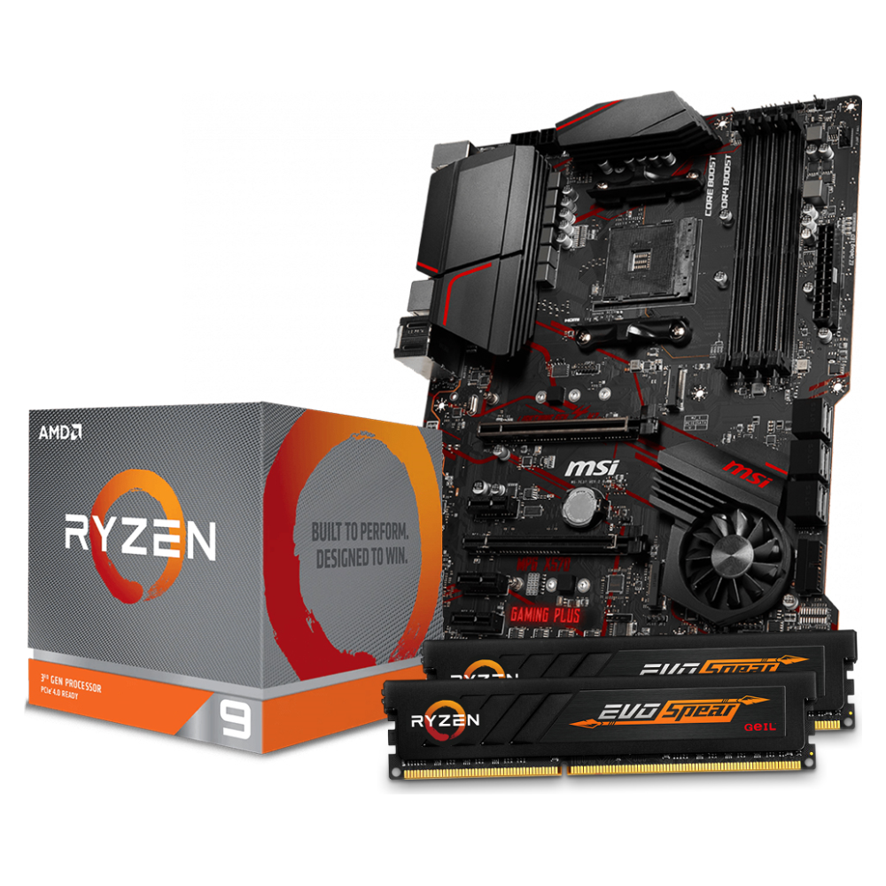 A large main feature product image of AMD Ryzen X570 Starter Bundle