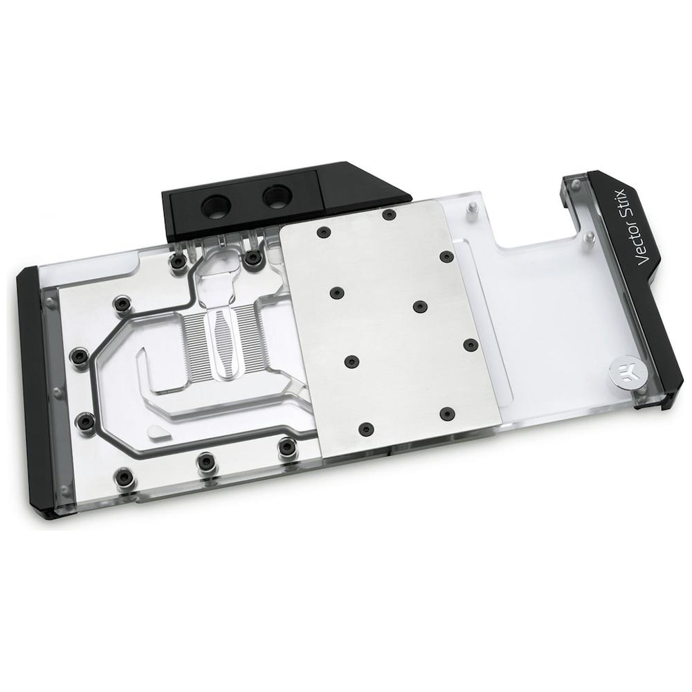A large main feature product image of EK Vector Strix RTX 2080 RGB Nickel/Plexi GPU Waterblock
