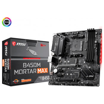 Product image of MSI B450M Mortar Max AM4 mATX Desktop Motherboard - Click for product page of MSI B450M Mortar Max AM4 mATX Desktop Motherboard
