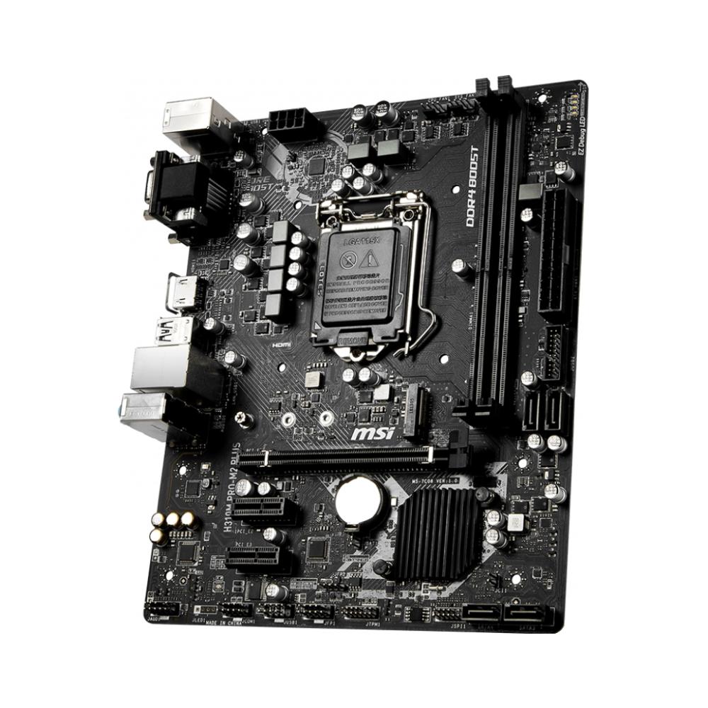 A large main feature product image of MSI H310M Pro-M2 Plus LGA1151-CL mATX Desktop Motherboard