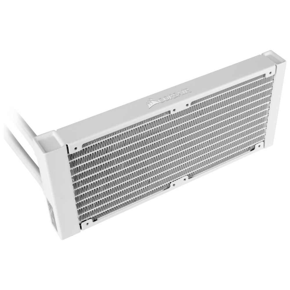 A large main feature product image of Corsair Hydro H100i RGB Platinum SE White 240mm AIO Liquid CPU Cooler