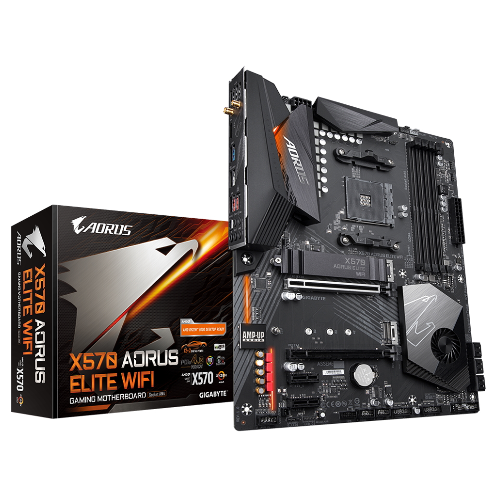 A large main feature product image of Gigabyte X570 AORUS ELITE WiFi AM4 ATX Desktop Motherboard