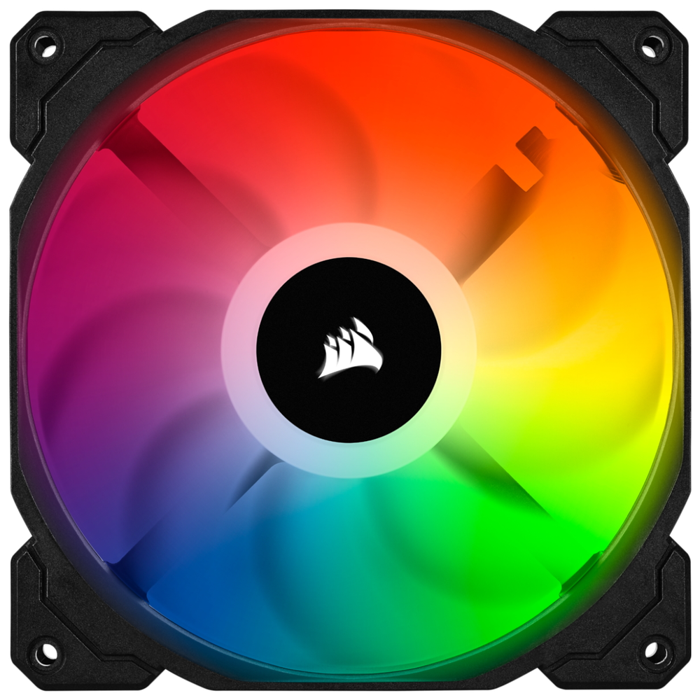 A large main feature product image of Corsair iCue SP120 RGB Pro Performance Fan
