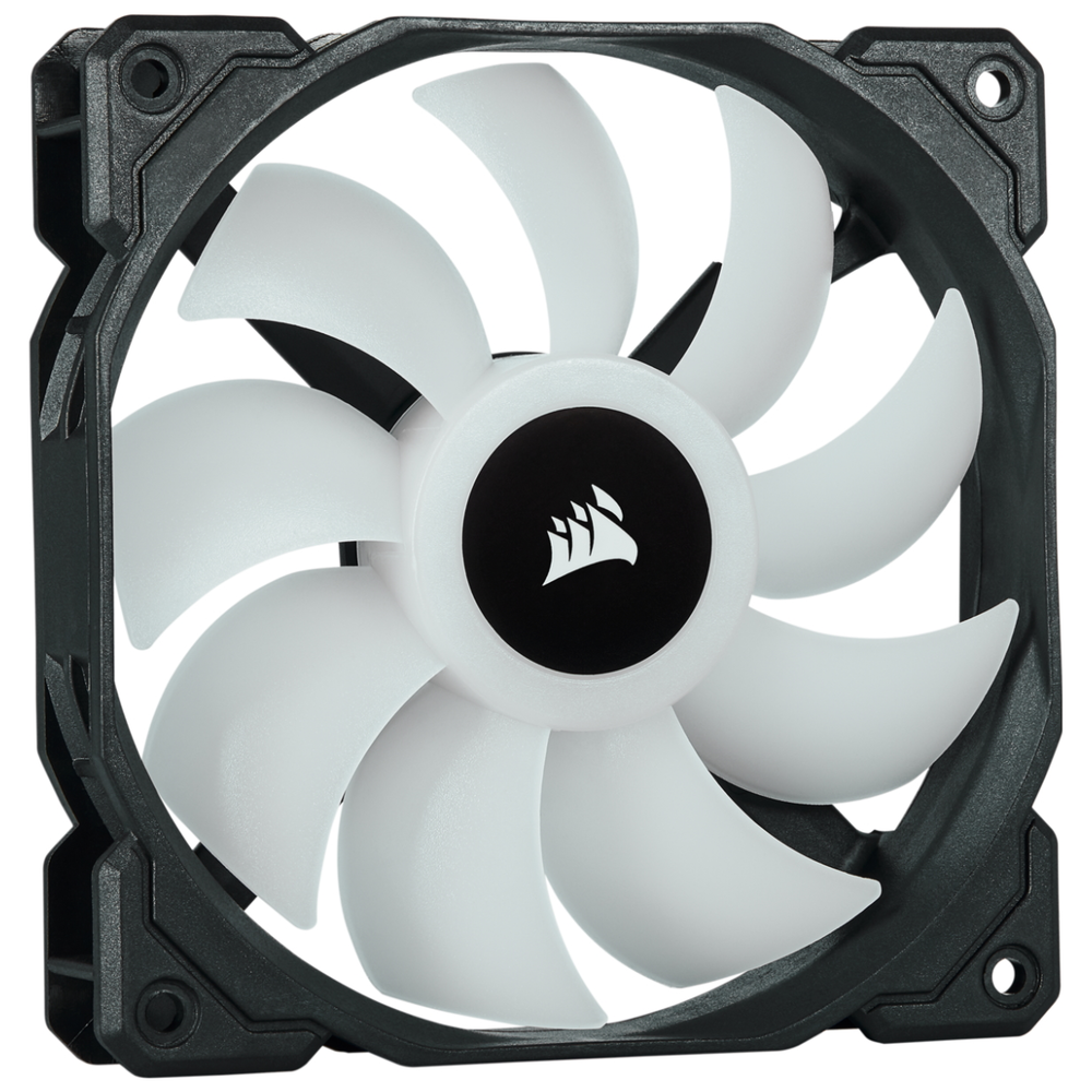 A large main feature product image of Corsair iCue SP120 RGB Pro Perfomance Fan - Triple Pack w/ Lighting Node Core