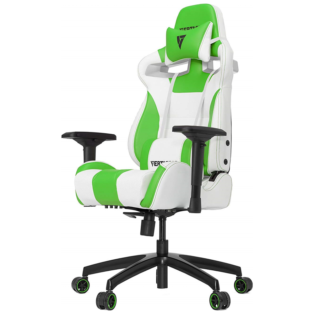 A large main feature product image of Vertagear Racing Series S-Line SL4000 Gaming Chair White/Green Edition