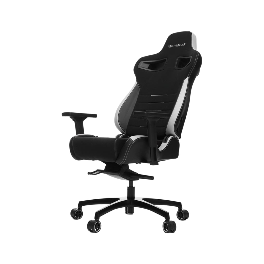 A large main feature product image of Vertagear Racing Series P-Line PL4500 Coffee Fiber with Silver Embroirdery Gaming Chair Black/White Edition(LED/RGB Upgradable)