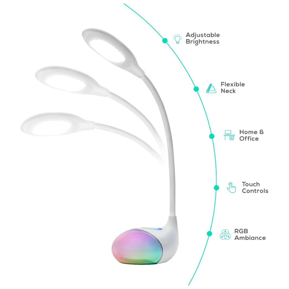 A large main feature product image of mBeat ACTIVIVA LED Desk Lamp With RGB Colour Changing Edge Light