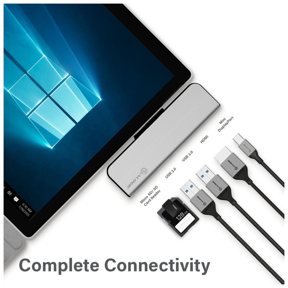 A large main feature product image of ALOGIC Surface Pro Dock Portable