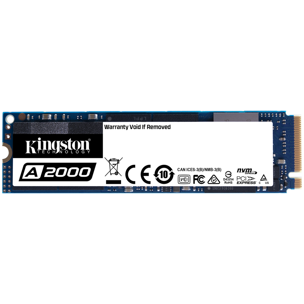 A large main feature product image of Kingston A2000 500GB NVMe M.2 SSD