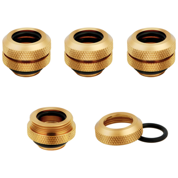 Product image of Corsair Hydro X Series XF HL Gold Hardline Fittings (12mm OD) 4 Pack - Click for product page of Corsair Hydro X Series XF HL Gold Hardline Fittings (12mm OD) 4 Pack
