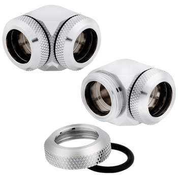 Product image of Corsair Hydro X Series XF HL Chrome 90 Degree Fittings (14mm OD) 2 Pack - Click for product page of Corsair Hydro X Series XF HL Chrome 90 Degree Fittings (14mm OD) 2 Pack