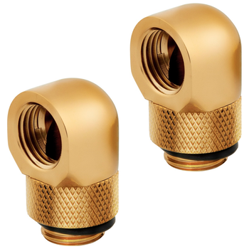 Product image of Corsair Hydro X Series XF AF Gold 90 Degree Rotary Fittings (G1/4) 2 Pack - Click for product page of Corsair Hydro X Series XF AF Gold 90 Degree Rotary Fittings (G1/4) 2 Pack