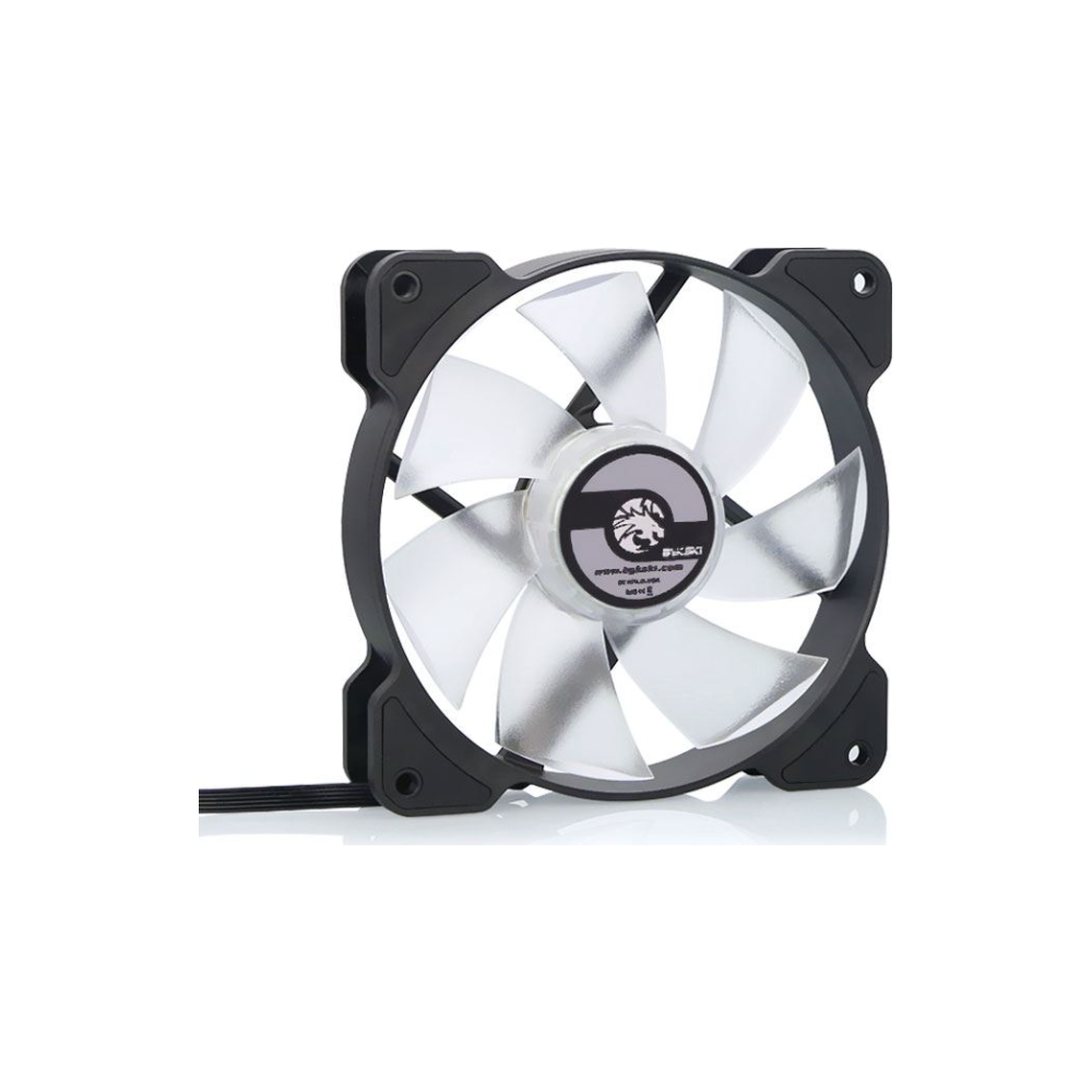 A large main feature product image of Bykski 120mm RBW Black/White Cooling Fan (V2)