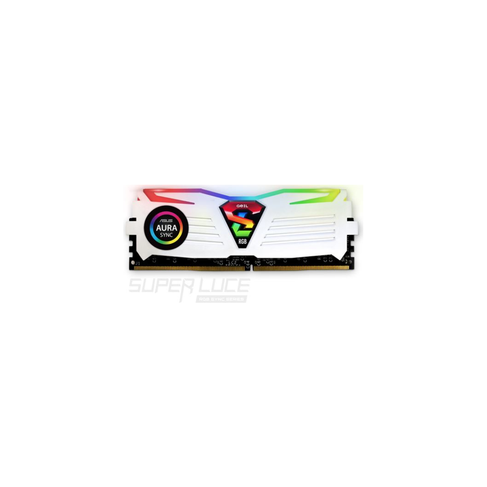 A large main feature product image of GeIL 16GB Kit (2x8GB) DDR4 SUPER LUCE RGB SYNC White Edition C19 2666MHz