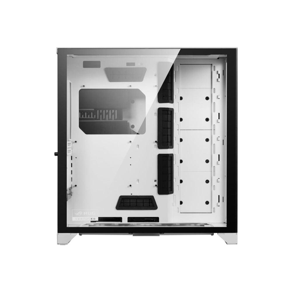 A large main feature product image of Lian-Li PC-O11 Dynamic XL ROG Certified Full Tower Case - White