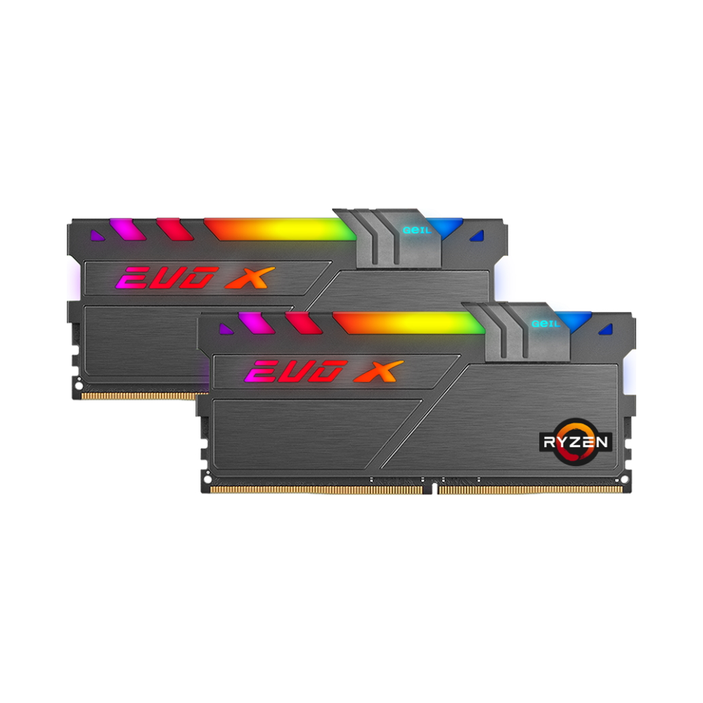 A large main feature product image of GeIL 16GB Kit (2x8GB) DDR4 EVO X II Addressable RGB AMD Edition C18 3600MHz