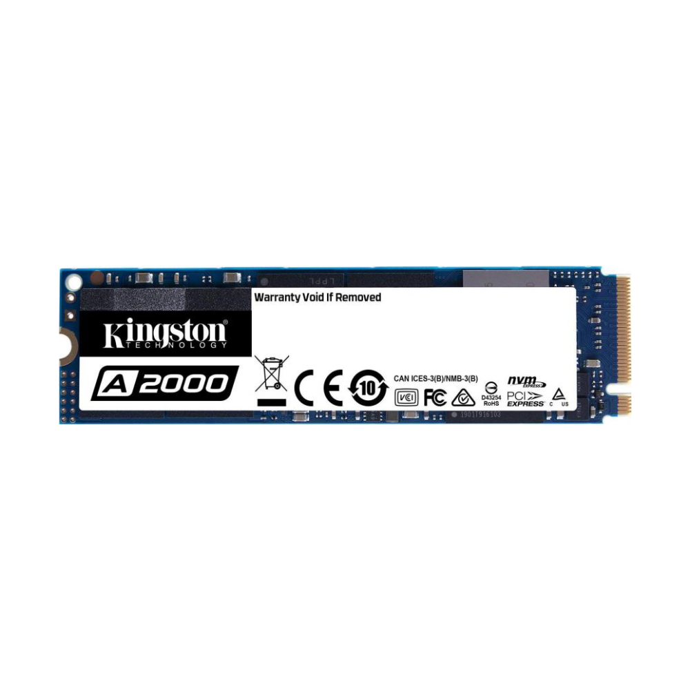 A large main feature product image of Kingston A2000 250GB NVMe M.2 SSD