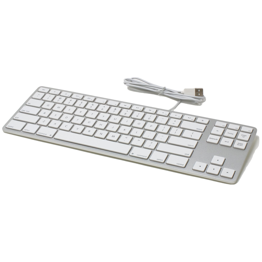 A large main feature product image of Matias Silver Wired Aluminium Tenkeyless Keyboard for Mac