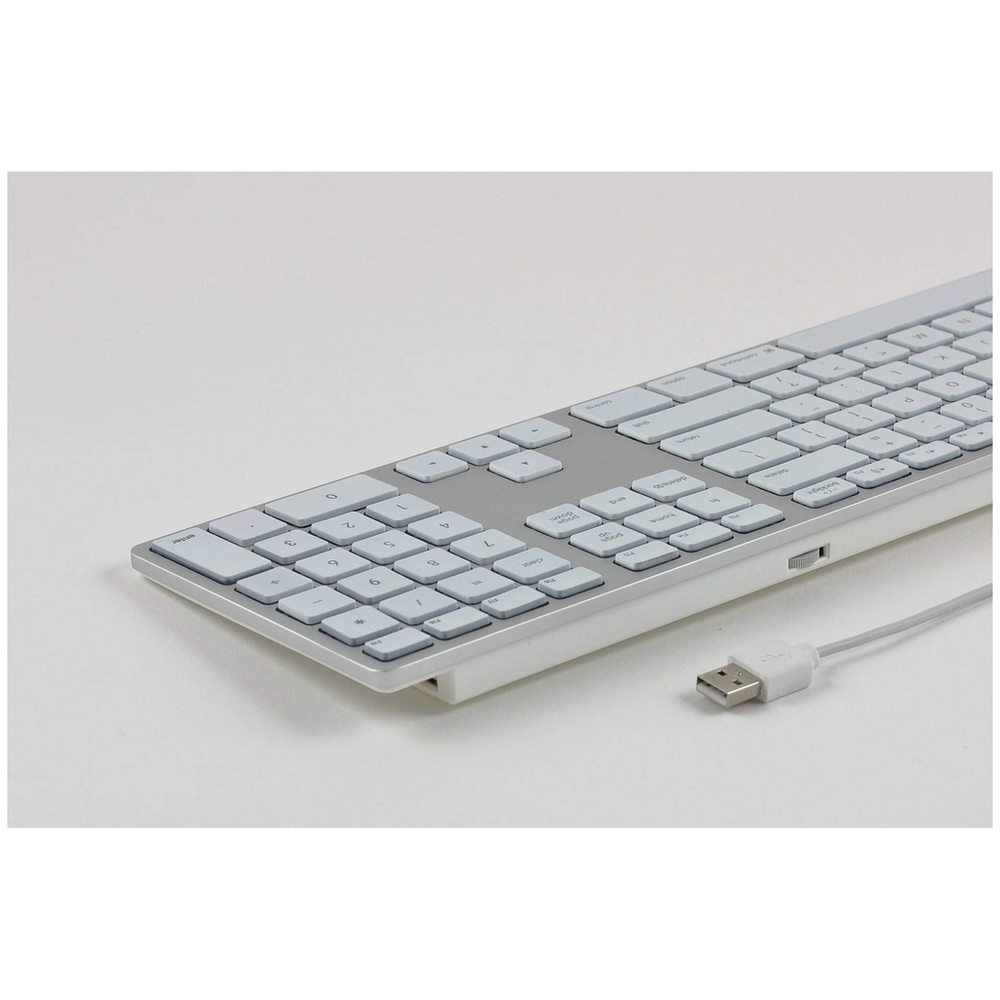 A large main feature product image of Matias Silver RGB Backlit Wired Aluminum Keyboard for Mac