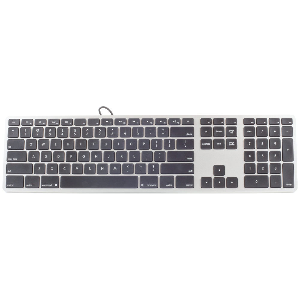 A large main feature product image of Matias Black/Silver Plastic Keyboard For Mac