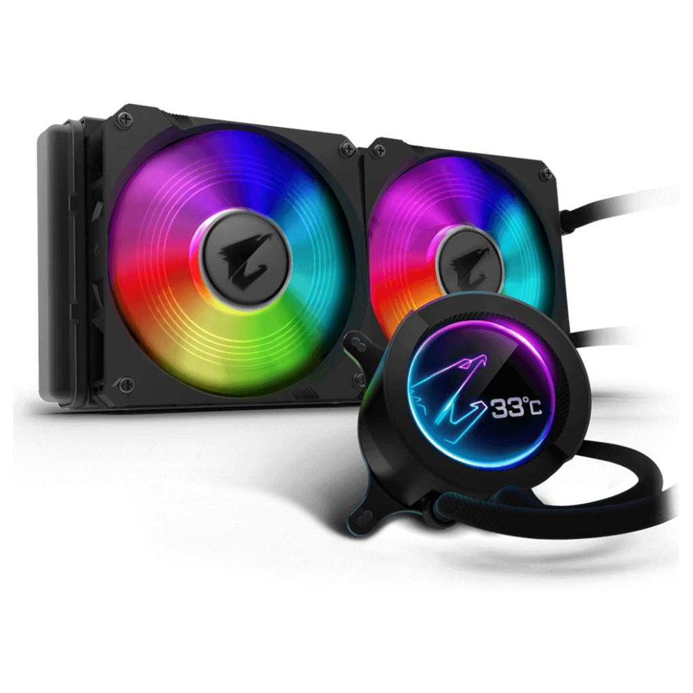 A large main feature product image of Gigabyte Aorus RGB 280 AIO Liquid Cooler