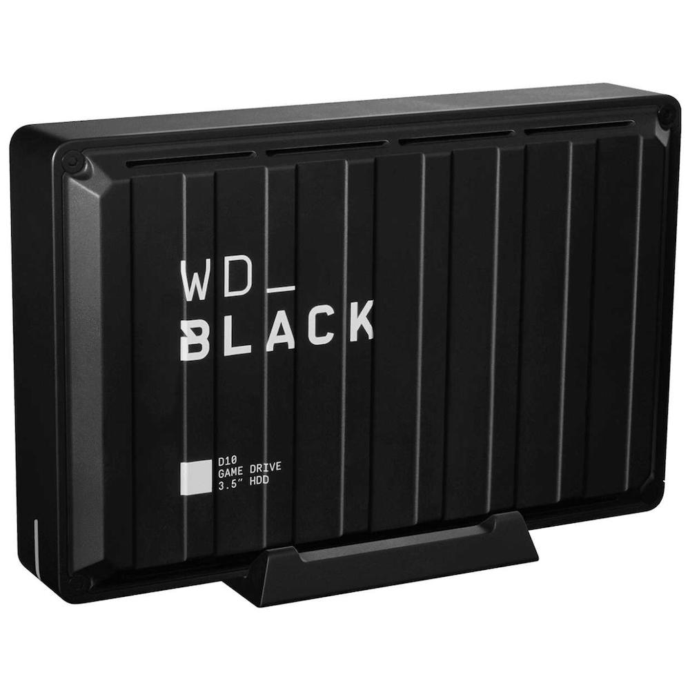 A large main feature product image of WD_BLACK D10 8TB Desktop External Hard Drive