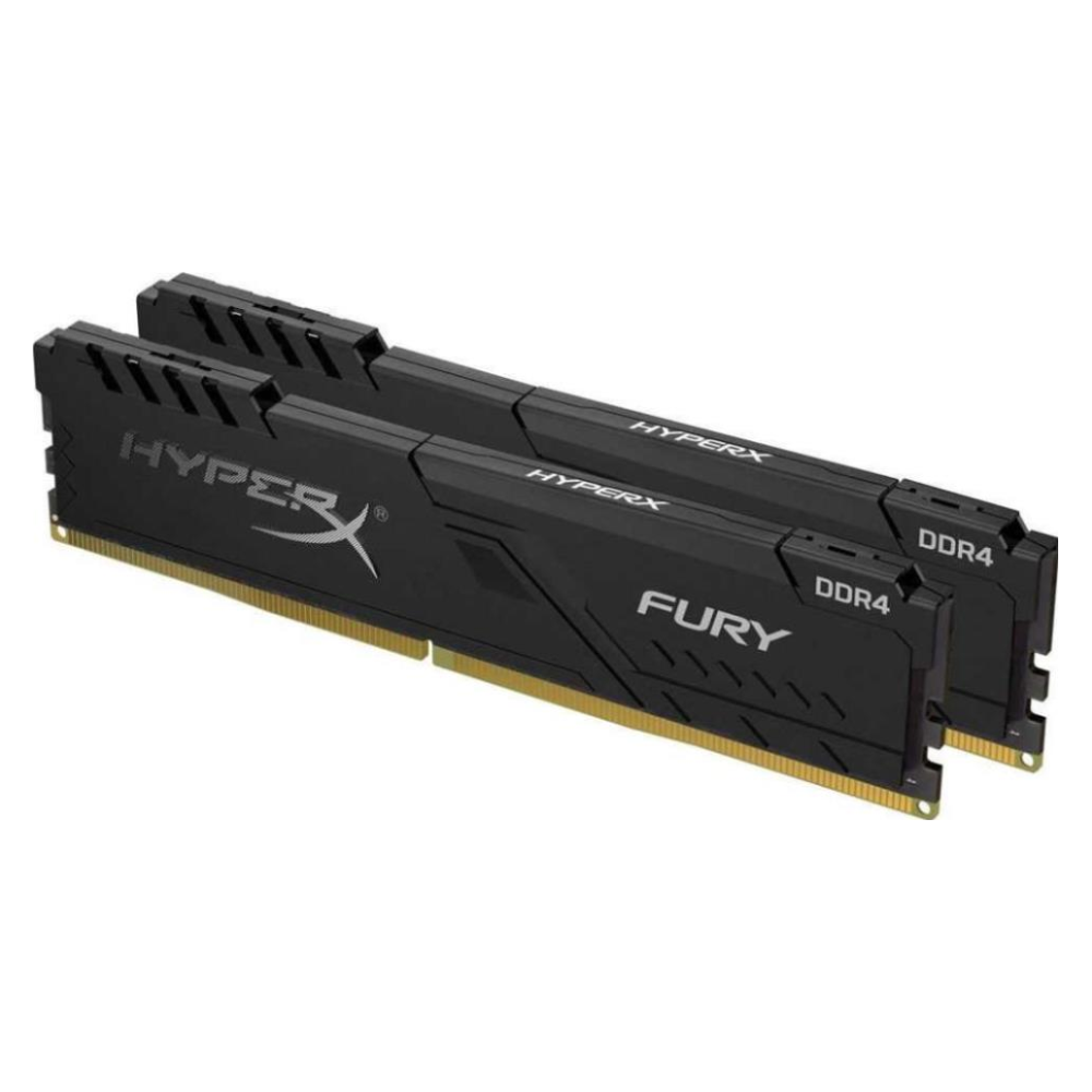 A large main feature product image of Kingston 8GB Kit (2x4GB) DDR4 HyperX Fury Black C16 2666MHz