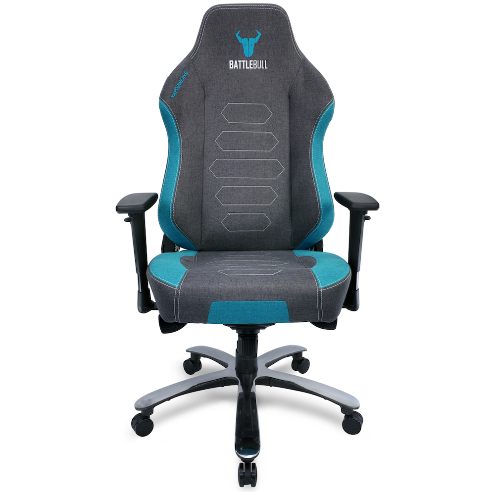 A large main feature product image of BattleBull Vaporweave Gaming Chair Grey/Turquoise