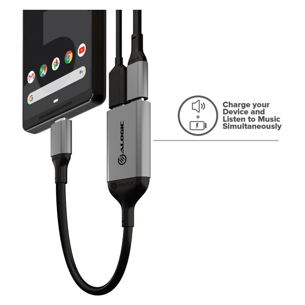 A large main feature product image of ALOGIC USB Type-C To Dual USB Type-C Audio and Charging Adapter