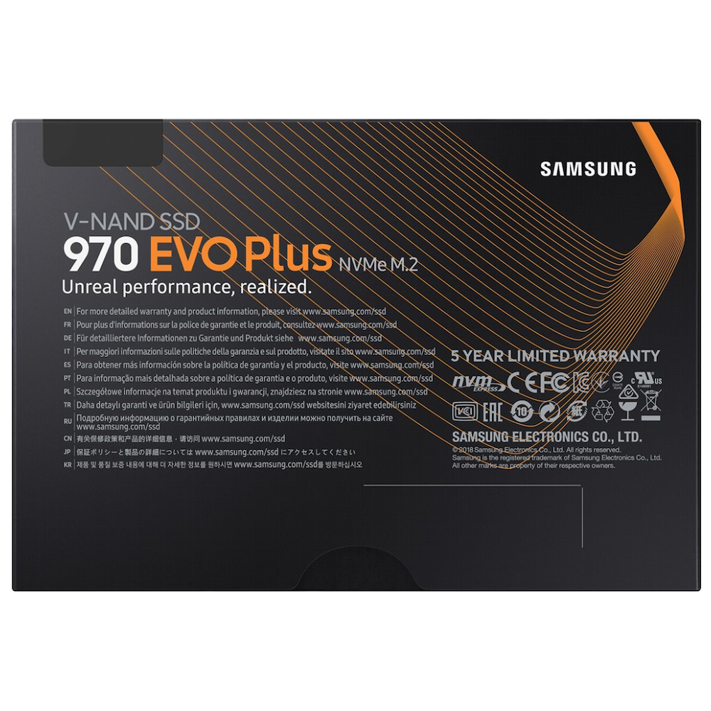 A large main feature product image of Samsung 970 EVO Plus 500GB M.2 NVMe SSD