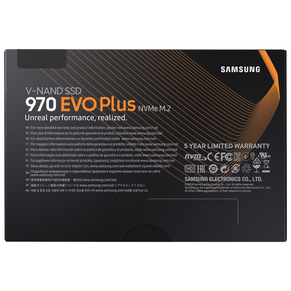 A large main feature product image of Samsung 970 EVO Plus 250GB M.2 NVMe SSD