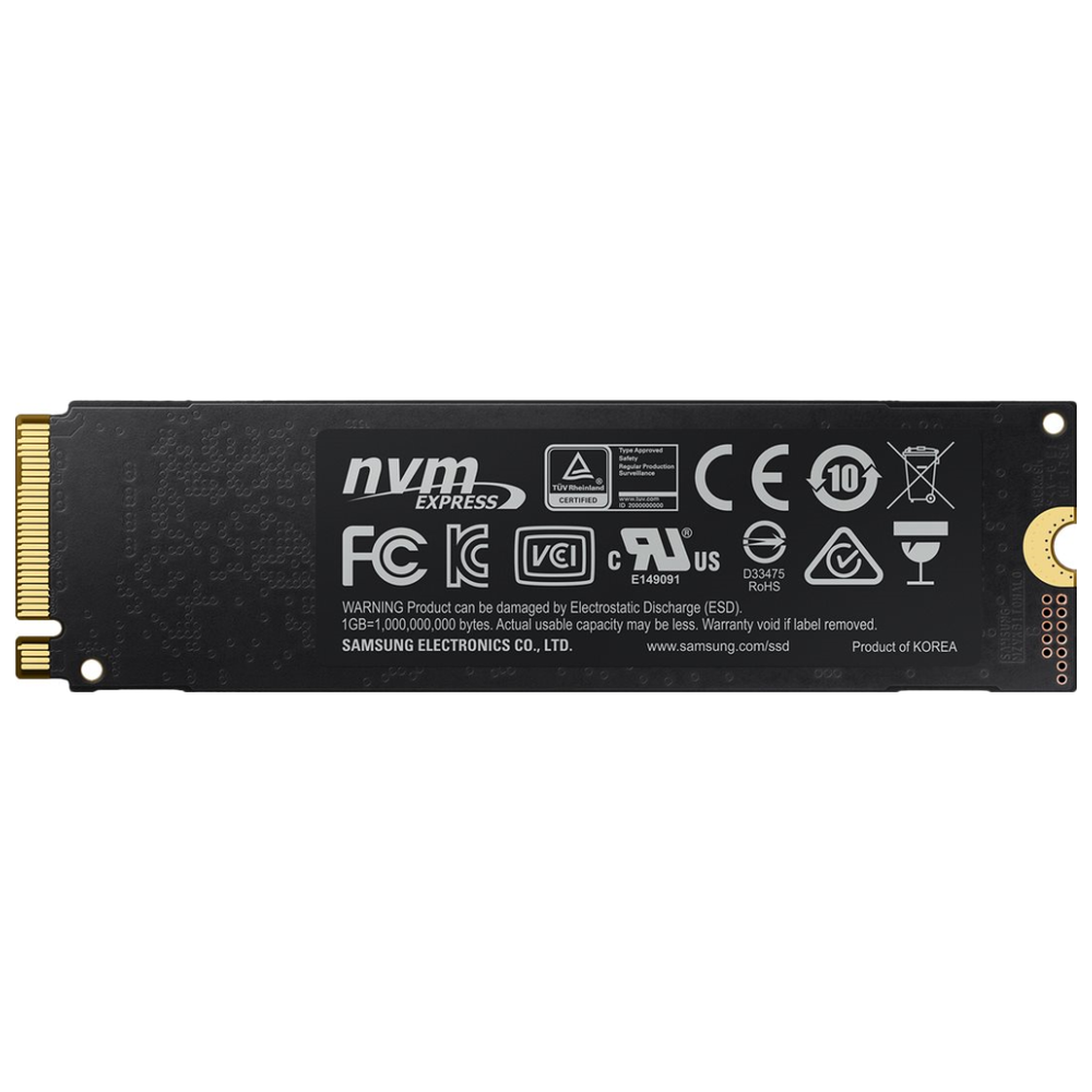 A large main feature product image of Samsung 970 EVO Plus 1TB M.2 NVMe SSD