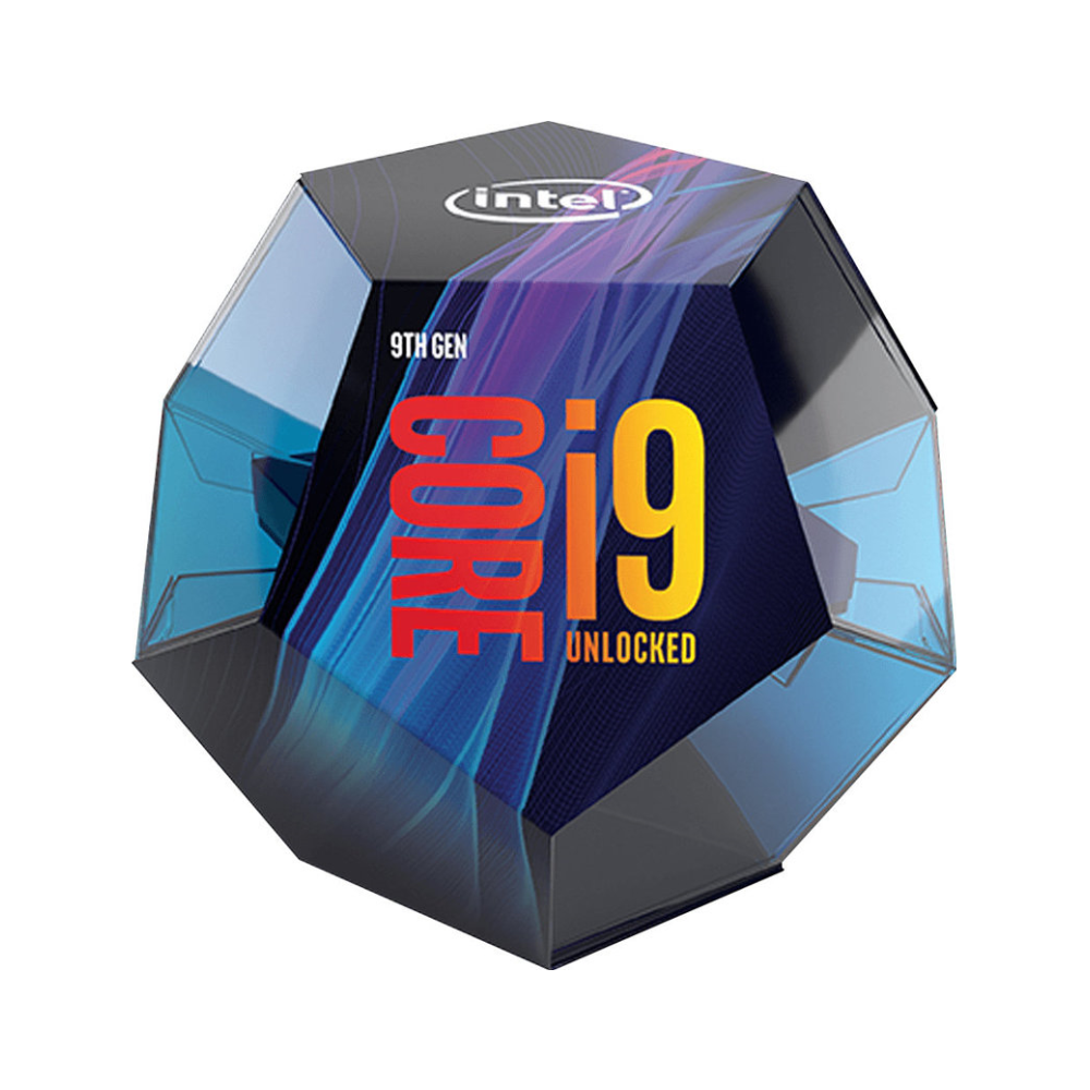 A large main feature product image of Intel Core i9 9900K 3.6GHz Coffee Lake R 8 Core 16 Thread LGA1151-CL - No HSF Retail Box